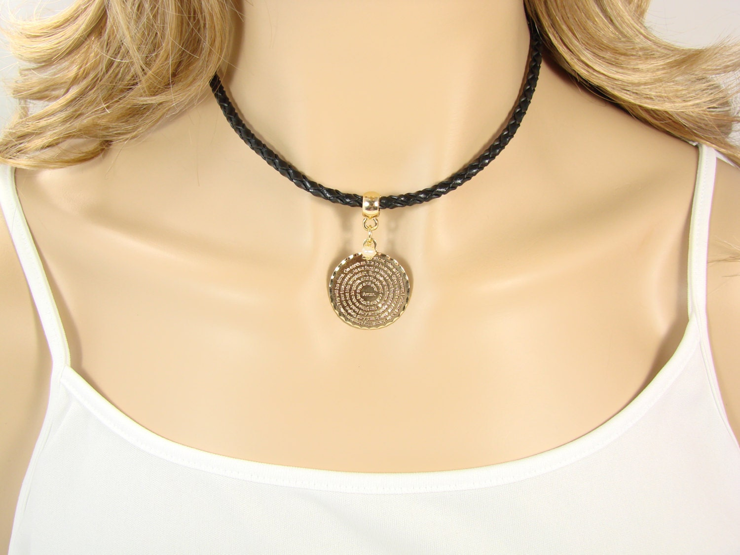 our necklace choker lord s prayer gold layered