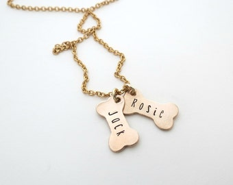 Gold Dog Bone Necklace - Personalized Bone Necklace - Mom to Dogs - Personalized Jewelry - Dog Names - Personalized Necklace - Dog Jewelry