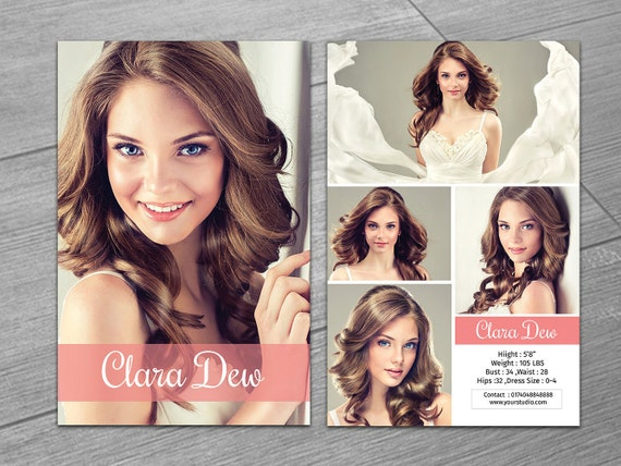 modeling comp card template 5 5x8 5 model card photoshop