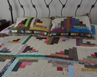 Reduced King size quilt,Reduced King Log cabin quilt,King scrappy log cabin,King quilt multi-color log cabin,King quilt w- shams