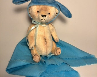 Teddy Bear in a bunny plush hat Gift for Her Stuffed animal Girlfriend gifts Teddy toys Birthday gift  Artist bears Cute Teddy Bear