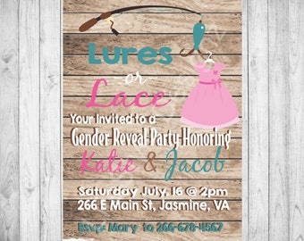 Lures or Lace Gender Reveal Invitation, Rustic Baby Shower, Printable Party Invite, Fishing - Lace - Pink - Blue - Diaper Party