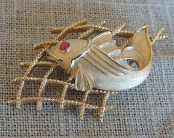 Vintage Trifari Fish caught in net brooch- unique vintage Trifari brooch
