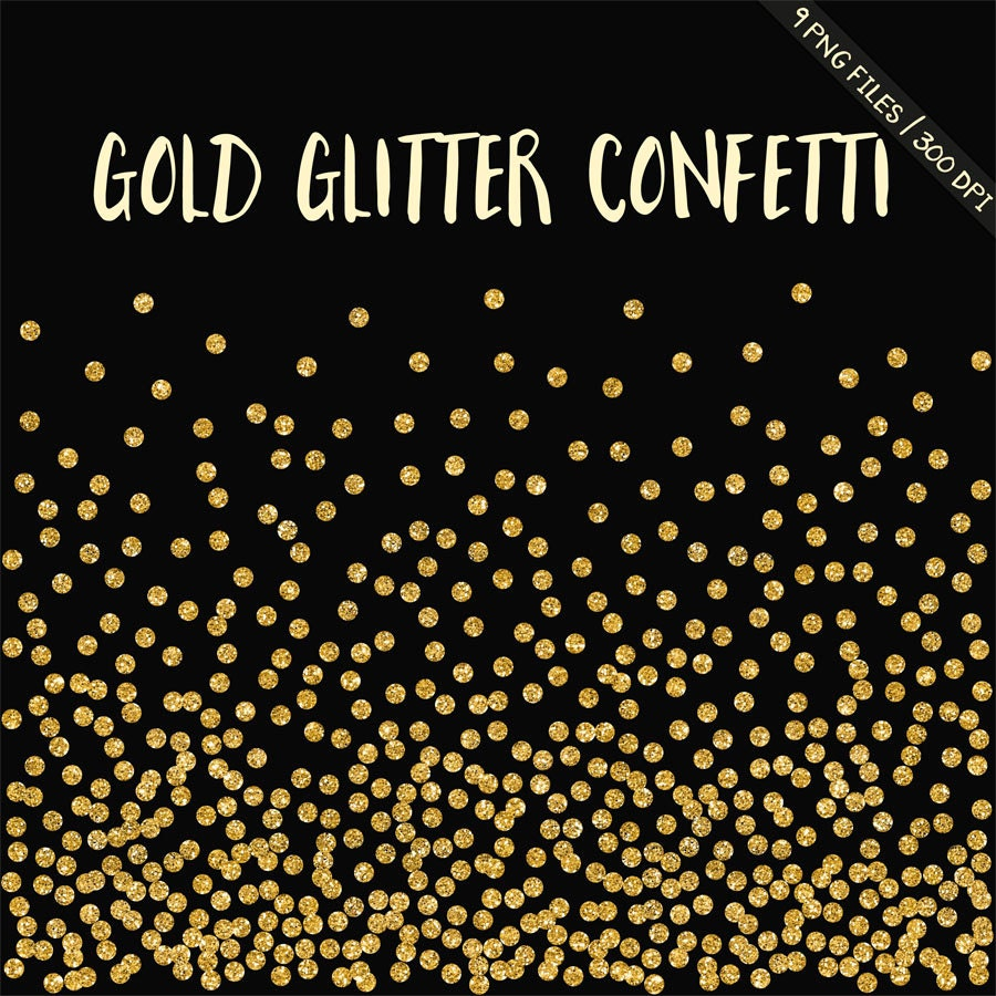 BUY 3 FOR 8 USD, Gold glitter confetti clipart, gold digital ...