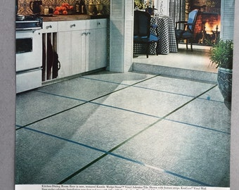 1968 Lot of 2 Kentile Floors Print Ads - Classic 60's Style Decorating