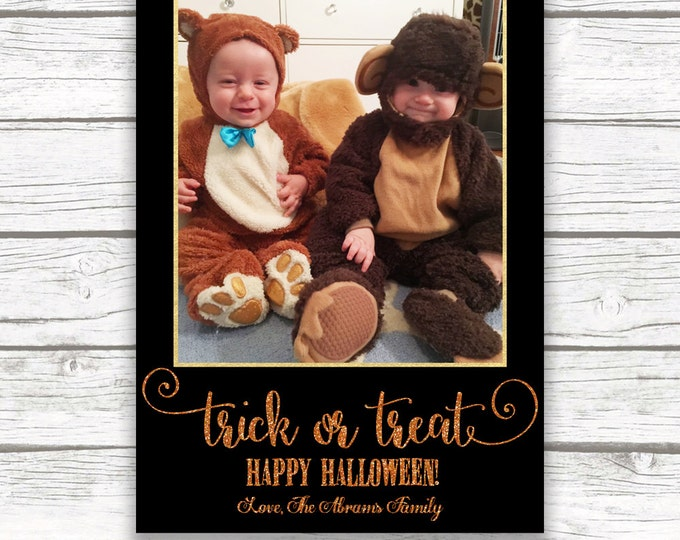 Halloween Gold Foil and Glitter Photo Greeting Card, Trick or Treat Photo Card, Personalized Halloween Photo Card, Printed or Printable
