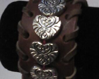 Heart beads Cuff bracelet.