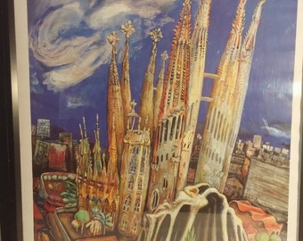 Barcelona Antoni Gaudi, La Sagrada Familia Poster, by Anthony Pilley, 1988