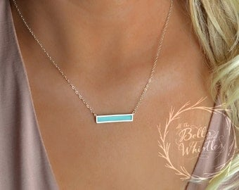 Delicate Turquoise Necklace, Turquoise Bar Necklace, Turquoise Silver Necklace, Sterling Silver, Bar Necklace, simple turquoise necklace