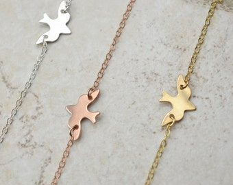 Soaring Dove Necklace / Sterling Silver, Gold, Rose Gold / Delicate Necklace / Layering Necklace / Gold Bird Necklace / Silver bird necklace