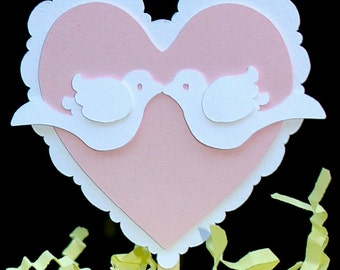 Hearts and Love Birds Wedding Cupcake Toppers set of 8