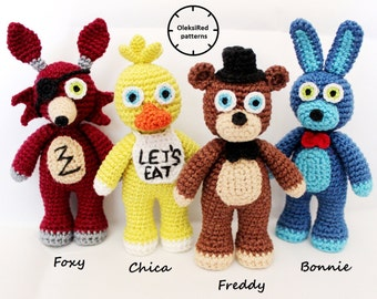 Five Nights at Freddy's FNAF CROCHET PATTERNS characters - Freddy, Bonny, Foxy and Chica (amigurumi patterns). 4 in 1!