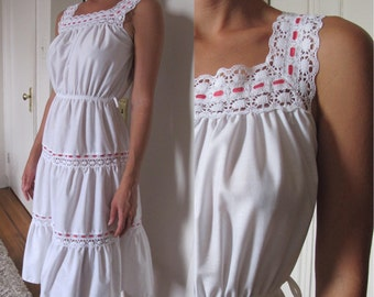 White Prairie Dress with Lace detail.