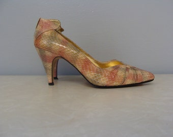 Vintage Pumps Snakeskin Heels J. Renee 70's Pink Gray Tan 80's Beatiful Statement Pretty Spring Summer Size 7 Pointy Toe High Back Detail