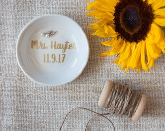 Personalized Ring Dish, Jewelry Holder / Dish, Engagement Gift for her
