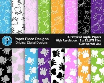Pawprints Digital Papers in fun vibrant colors.