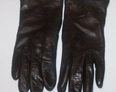 Dark Brown Gloves, Leather Gloves, ladies leather gloves, brown leather gloves, size 7 womens gloves, leather outerwear, driving gloves,
