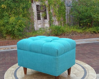Upholstered, Tufted, Teal Blue Linen Mid-Century Modern Ottoman or Footstool~ Design 59