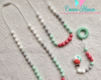 ALICE TRIO / mommy , baby and big sister kit / Mom teething necklace / pacifier clip / girl necklace / gift / mommy and me