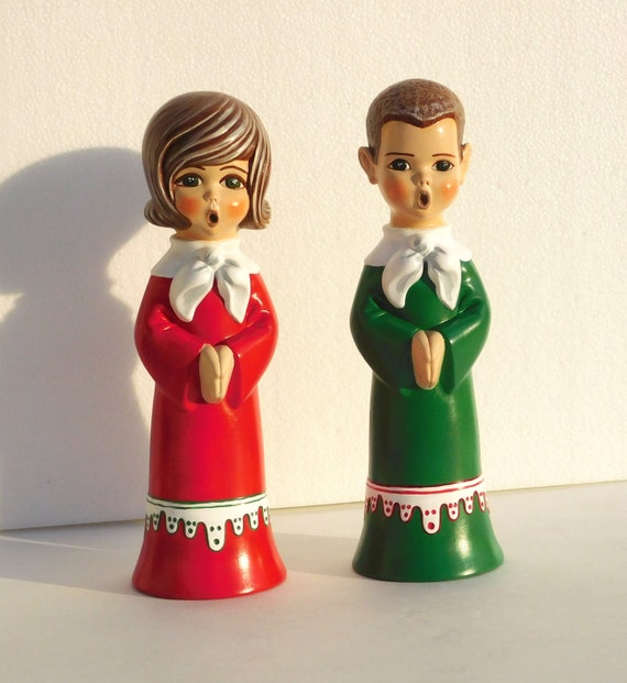 Vintage Ceramic Christmas Carolers Choir Boy And Girl: Kids Choir Ceramic Figurines Singing Boy And By