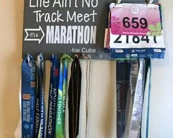 Ice Cube Race Bib Medal Holder, Race Bib Medal Display, Race Medal Holder, Life Ain't No Track Meet It's a Marathon -Ice Cube
