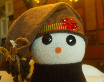 Brown and red sock snowman