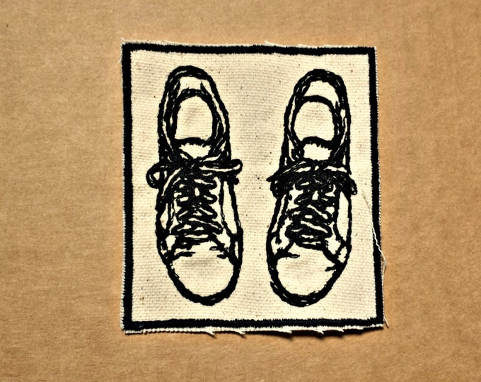 Embroidered Upcycled Canvas Iron On Patch  Vintage Graphic Running Shoes Iron On Patch for Denim Jackets and Hats