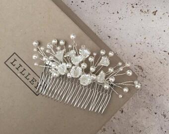 Handmade Ivory Beaded Bridal Hair Comb, Wedding, Bride