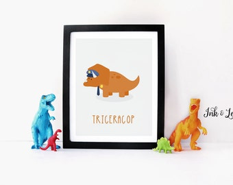 Dinosaur Print - Dinosaur Pun - Police Decor - Dinosaur Nursery - Dinosaur Playroom Decor - Instant Download - Digital Printable - 8x10