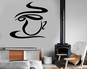 Wall Vinyl Decal Coffee Cup Decor for Kitchen and Restaurants Coffee Shop Decoration (#1041de)