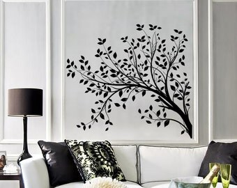 Wall Vinyl Decal Tree Branches with Leaves Nature Landscape Modern Art Home Decoration (#1053dz)