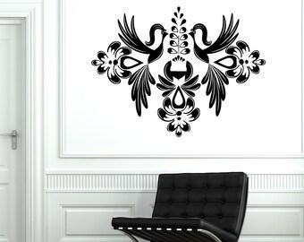 Wall Decal Vinyl Floral Birds Flower Ornament Symbol Cool Sticker 1717dz
