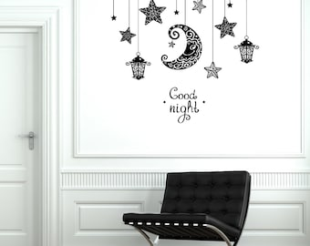 Wall Decal Moon Stars Light Romantic Sticker Bedroom Vinyl Decal 1891dz