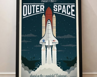 Spaceship Vintage Travel Poster, Space Shuttle, Universe, Travel, Decoration, Wall Art, Printable Poster, Spaceship