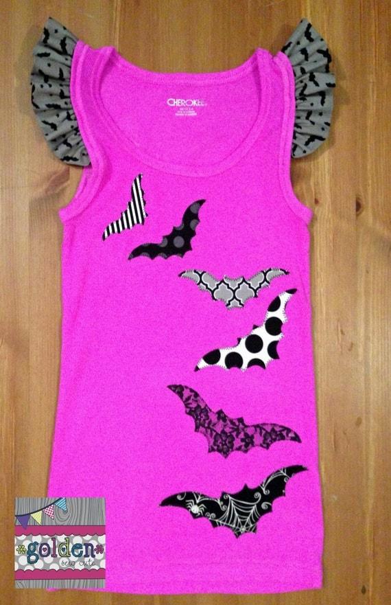 Halloween Girly Bat Ruffle Sleeve Tank Top, Girl Tee, Girl Shirt