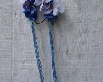Flower Crowns//Floral Headband// With Ribbon// Blue and White