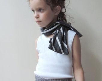 Xmas Gift, Girls Boys Striped Scarf, Toddlers Grey Scarf, Kids Neck Warmer, Toddlers Neck Warmer, Kids Gift, Reversible Scarf - By PetitWild