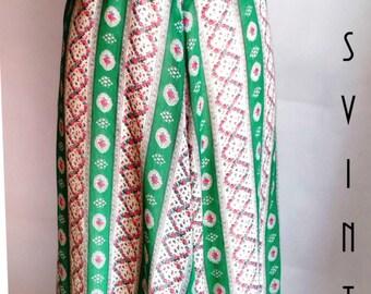 "Plus Size Vintage 1970s Maxi Dress Green Regency Austen Floral Floaty UK 18 EU 46 US 14 Bust 44"" 112cm"