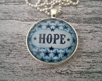 Hope Cabochon necklace on a star background-Ball chain fit hope glass cabochon necklace