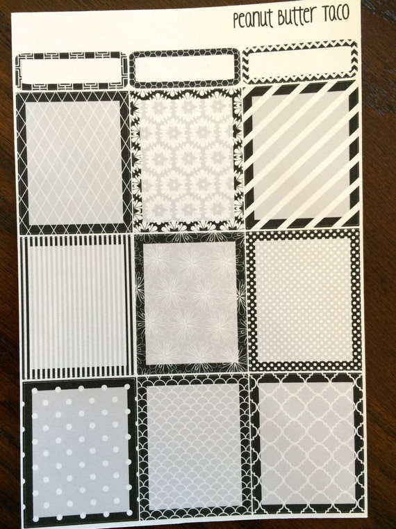 Black white full boxes planner stickers from for Black box container studios