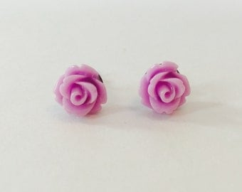 Purple rose stud earrings