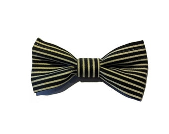Silver, black and white striped bow tie