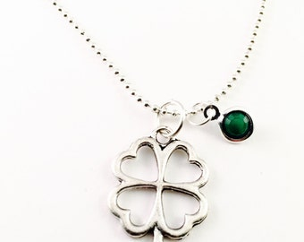 "Four leaf clover necklace, Lucky charm Necklace, Irish necklace, silver plated 20"" ball chain necklace, bridesmaids gift"