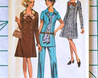 Simplicity 9039 Sewing Pattern Dress Tunic Pants Seventies 70s Square Neckline Princess Seams Bow Scarf Rare Vintage Size 46 Bust 50 UNCUT