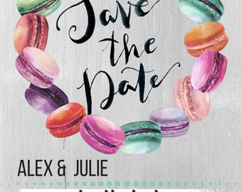 Macaroon Themed Save the Date Cards