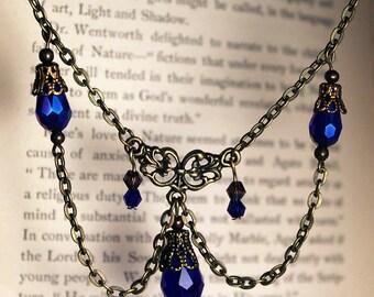 Iridescent Blue & Bronze Victorian Chandelier Necklace