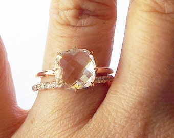 White Topaz Engagement Ring 14k Rose Gold Statement ring April birthstone promise ring anniversary ring solitaire Promise ring