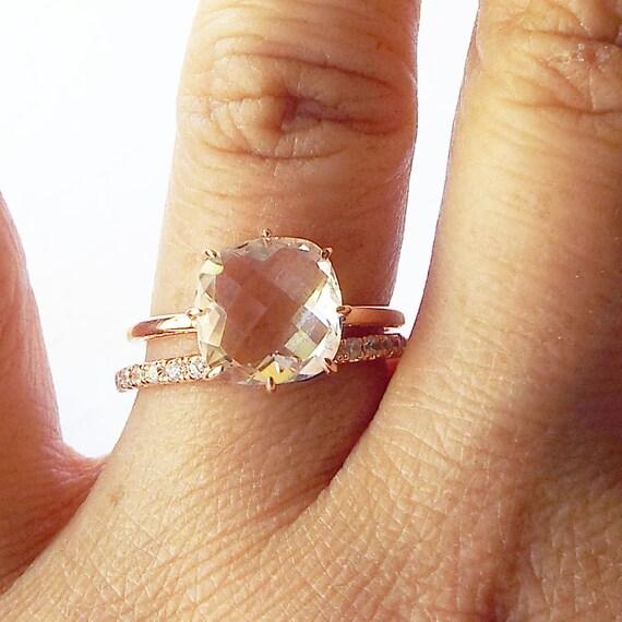 white topaz engagement ring 14k gold statement ring april