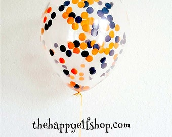 """Halloween confetti filled balloons. 11"""" (3 pack). Halloween confetti. Halloween party decor. Halloween decor. Confetti. Halloween supplies"""