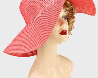 Womens Kentucky Derby Wide Brim Wedding Church Beach Sun Hat - Fuchsia